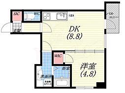 阪神本線 西宮駅 徒歩5分の賃貸マンション 8階1DKの間取り