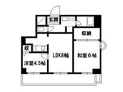 第33長栄今小路メリーハイツ[4階]の間取り