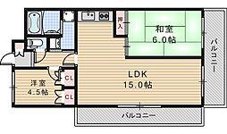 大阪府大阪市阿倍野区文の里4丁目の賃貸マンションの間取り