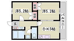 JR東海道・山陽本線 明石駅 バス15分 玉津インター前下車 徒歩4分の賃貸アパート 2階2DKの間取り