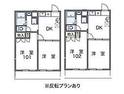 神奈川県藤沢市白旗2丁目の賃貸アパートの間取り