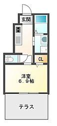 大阪府豊中市利倉2丁目の賃貸アパートの間取り