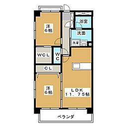 ロイヤルコート籠上 A棟[6階]の間取り