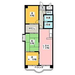 ソレイユ笠松[2階]の間取り