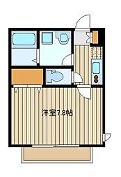 東京メトロ有楽町線 千川駅 徒歩3分の賃貸マンション 1階1Kの間取り