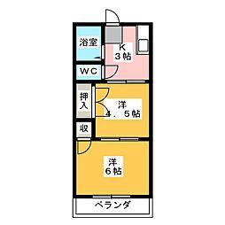 シティハイムワタナベ[2階]の間取り
