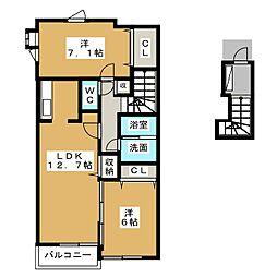 愛知県海部郡蟹江町桜1丁目の賃貸アパートの間取り