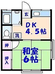 ハイツナカムラ[B202号室]の間取り