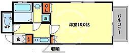 アクティ北浜 13階1Kの間取り