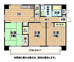 福岡県北九州市小倉南区南方1丁目の賃貸マンションの間取り