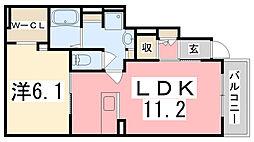 兵庫県姫路市香寺町広瀬川端向の賃貸アパートの間取り
