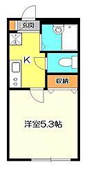 JR中央本線 国分寺駅 徒歩8分の賃貸アパート 1階1Kの間取り