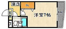 京都府京都市山科区川田御輿塚町の賃貸マンションの間取り