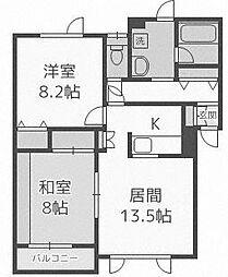 北海道札幌市手稲区新発寒三条1丁目の賃貸アパートの間取り