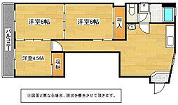 福岡県北九州市小倉北区黒原3丁目の賃貸マンションの間取り