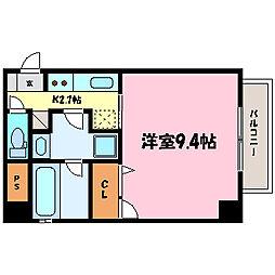 滋賀県大津市におの浜4丁目の賃貸マンションの間取り