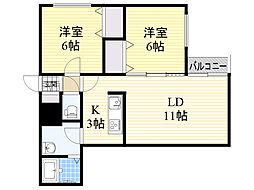 札幌市電2系統 西線16条駅 徒歩4分の賃貸マンション 1階2LDKの間取り