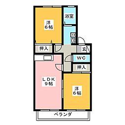 セジュール西岡崎 B[2階]の間取り