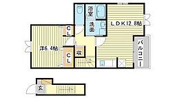 飾磨区加茂アパート[201号室]の間取り