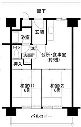UR泉北原山台1丁[7階]の間取り