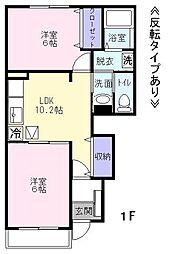 ベル・ソレイユK[1階]の間取り