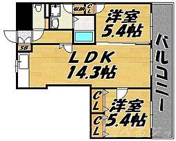 ウィングス片野II[12階]の間取り