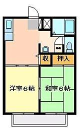 ジュネス高橋 B・C[B102号室]の間取り