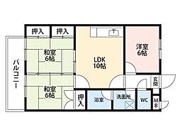 福岡県北九州市小倉南区徳力5丁目の賃貸マンションの間取り