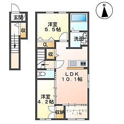 仮)田村町徳定アパート 2階2LDKの間取り