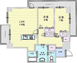 阪急京都本線 十三駅 徒歩5分の賃貸マンション 12階2LDKの間取り
