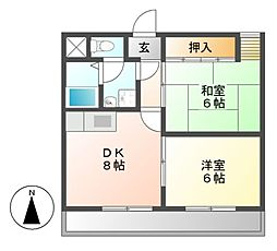 愛知県名古屋市北区城東町1の賃貸マンションの間取り