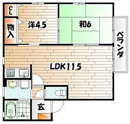ピ−スガ−デン若園[1階]の間取り