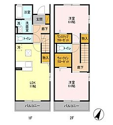 [テラスハウス] 東京都練馬区土支田4丁目 の賃貸【/】の間取り