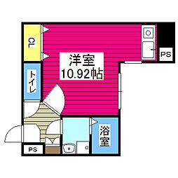 仙台市地下鉄東西線 青葉通一番町駅 徒歩3分の賃貸マンション 7階ワンルームの間取り