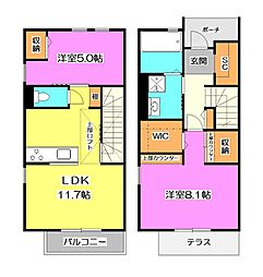 [テラスハウス] 東京都清瀬市竹丘3丁目 の賃貸【/】の間取り