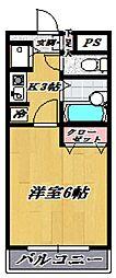 ソレイユ廣川[102号室号室]の間取り