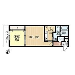 JR函館本線 発寒中央駅 徒歩7分の賃貸マンション 2階1LDKの間取り