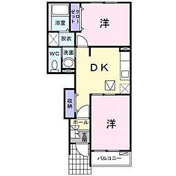 岡山県倉敷市真備町川辺の賃貸アパートの間取り