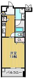 阪急神戸本線 西宮北口駅 徒歩12分の賃貸マンション 2階1Kの間取り
