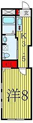 都営三田線 白山駅 徒歩6分の賃貸マンション 2階1Kの間取り