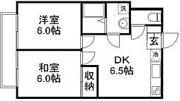 東京都武蔵野市境南町5丁目の賃貸アパートの間取り