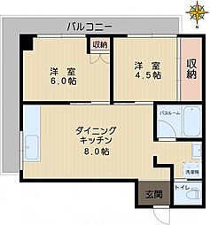 丸山ビルディング[4B号室]の間取り