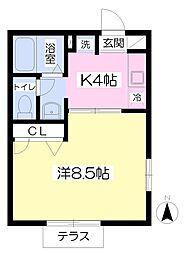 東急田園都市線 長津田駅 徒歩14分の賃貸アパート 1階1Kの間取り