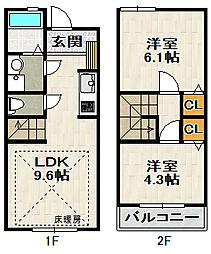 [テラスハウス] 兵庫県伊丹市大野2丁目 の賃貸【兵庫県 / 伊丹市】の間取り