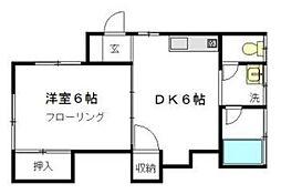 東京都文京区小日向1丁目の賃貸アパートの間取り