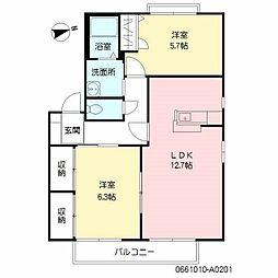 福岡県福岡市西区上山門2丁目の賃貸アパートの間取り