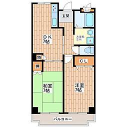 大阪府大阪市平野区加美東3丁目の賃貸マンションの間取り