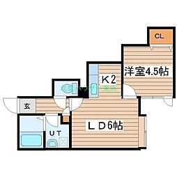 北海道札幌市東区北二十六条東20丁目の賃貸アパートの間取り