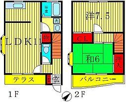 [テラスハウス] 千葉県松戸市栄町1丁目 の賃貸【千葉県 / 松戸市】の間取り