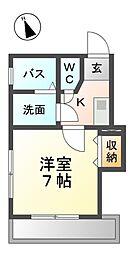愛知県名古屋市西区浮野町の賃貸マンションの間取り